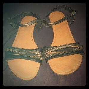 Black & Gray rhinestone sandals